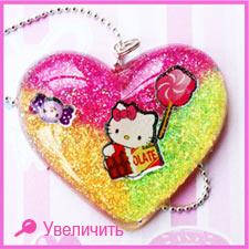 Эксклюзивное сердце на цепочке Hello Kitty