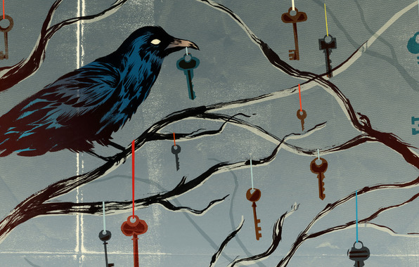 Art dark psychedelic crow Bird Keys Abst.