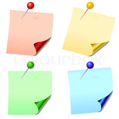2569993-483630-colored-paper-sheets-for-notes-with-a-glossy-curved-corners-pinned-office-pins