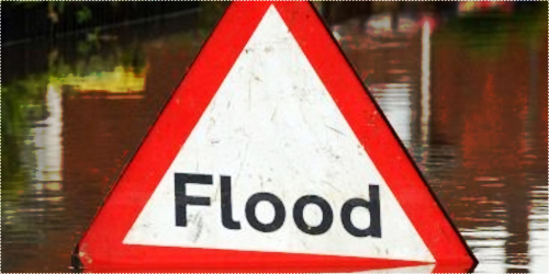 A warning sign in flooded Tewkesbury, Gloucestershire.