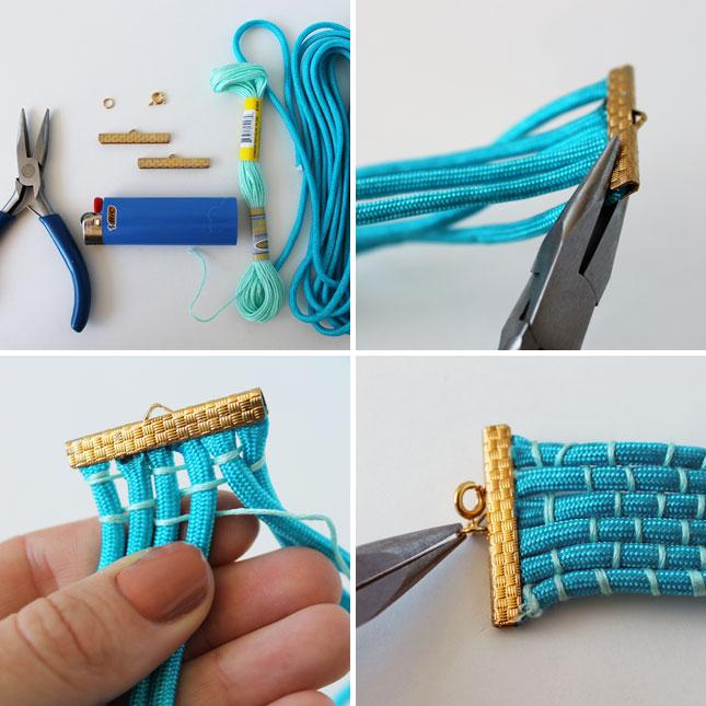 Бирююзовый плетеный браслет фенечка своими руками.