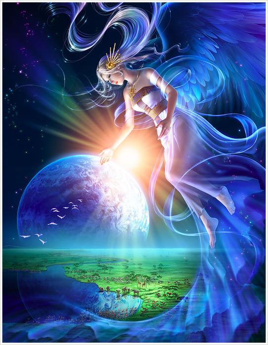 Фото Девушка с крыльями ангела парит в небе, художник Takaki